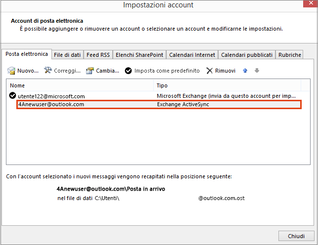 Impostazioni account di Outlook, Account di posta elettronica