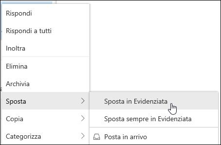 Una schermata mostra il menu di scelta rapida con la casella di posta in arrivo evidenziata e la posta in arrivo focalizzata.