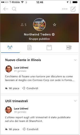 Visualizzazione conversazione della finestra dell'app per dispositivi mobili di gruppi di Outlook