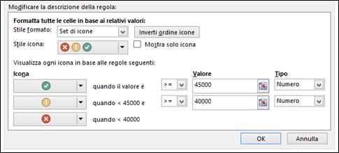 Finestra di dialogo delle opzioni Set di icone di formattazione condizionale