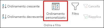 Opzioni di Ordinamento personalizzato di Excel nella scheda Dati