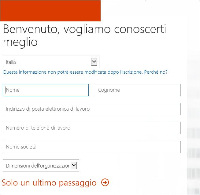 Visualizza la Pagina iniziale, Fornire le informazioni personali. Immettere qui le informazioni per l'iscrizione.