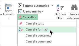 Opzione Cancella formati