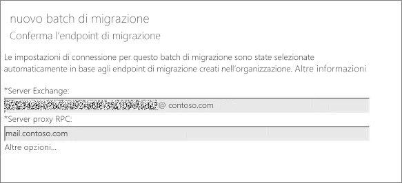 Nuovo batch di migrazione con endpoint confermato.