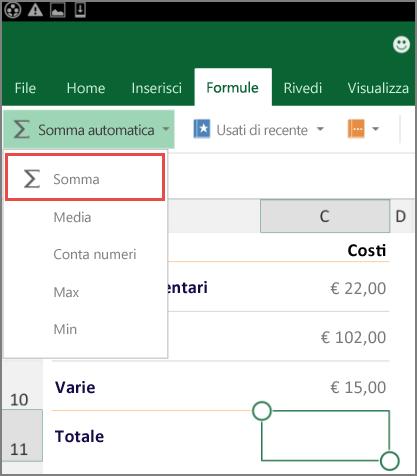 Menu di accesso sulla barra multifunzione di Excel per Android