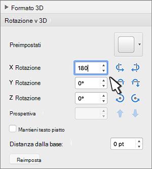sezione rotazione 3D con rotazione X selezionata