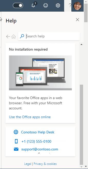 Screenshot che mostra le informazioni di supporto delle organizzazioni