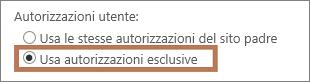 Impostazione di autorizzazioni esclusive su un sito secondario
