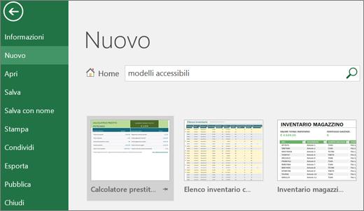 Ritaglio di schermata dell'interfaccia utente di Excel che mostra la casella di ricerca con la voce modelli accessibili e i corrispondenti risultati della ricerca.