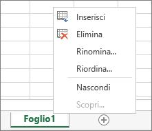 Lo screenshot mostra il menu visualizzato dopo aver fatto clic con il pulsante destro del mouse su una scheda del foglio, con le opzioni per inserire, eliminare, rinominare, riordinare, nascondere o scoprire il foglio.