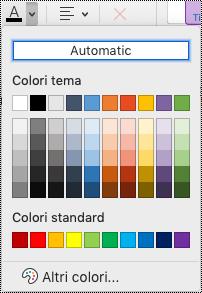 Menu a discesa Colore carattere in OneNote per Mac.