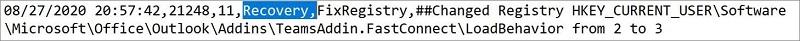 """Immagine del file di log dell'Assistente supporto e ripristino Microsoft. La parola """"Ripristino"""" è evidenziata."""