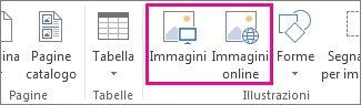 Screenshot delle opzioni per l'inserimento di immagini nel menu Inserisci in Publisher.