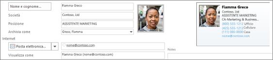 È possibile aggiungere o modificare un'immagine per un contatto.