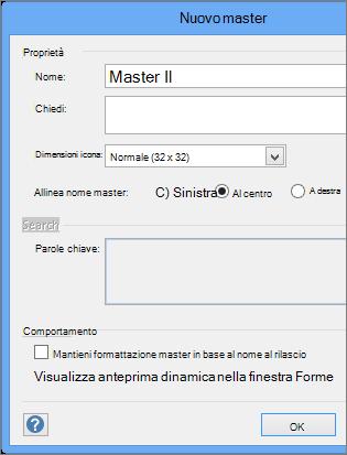 Nella finestra di dialogo Nuovo master digitare un nome e impostare altri parametri.
