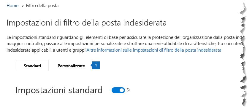 Questa schermata mostra la posizione della scheda personalizzati nella pagina Impostazioni di protezione da posta indesiderata sicurezza e centro conformità.
