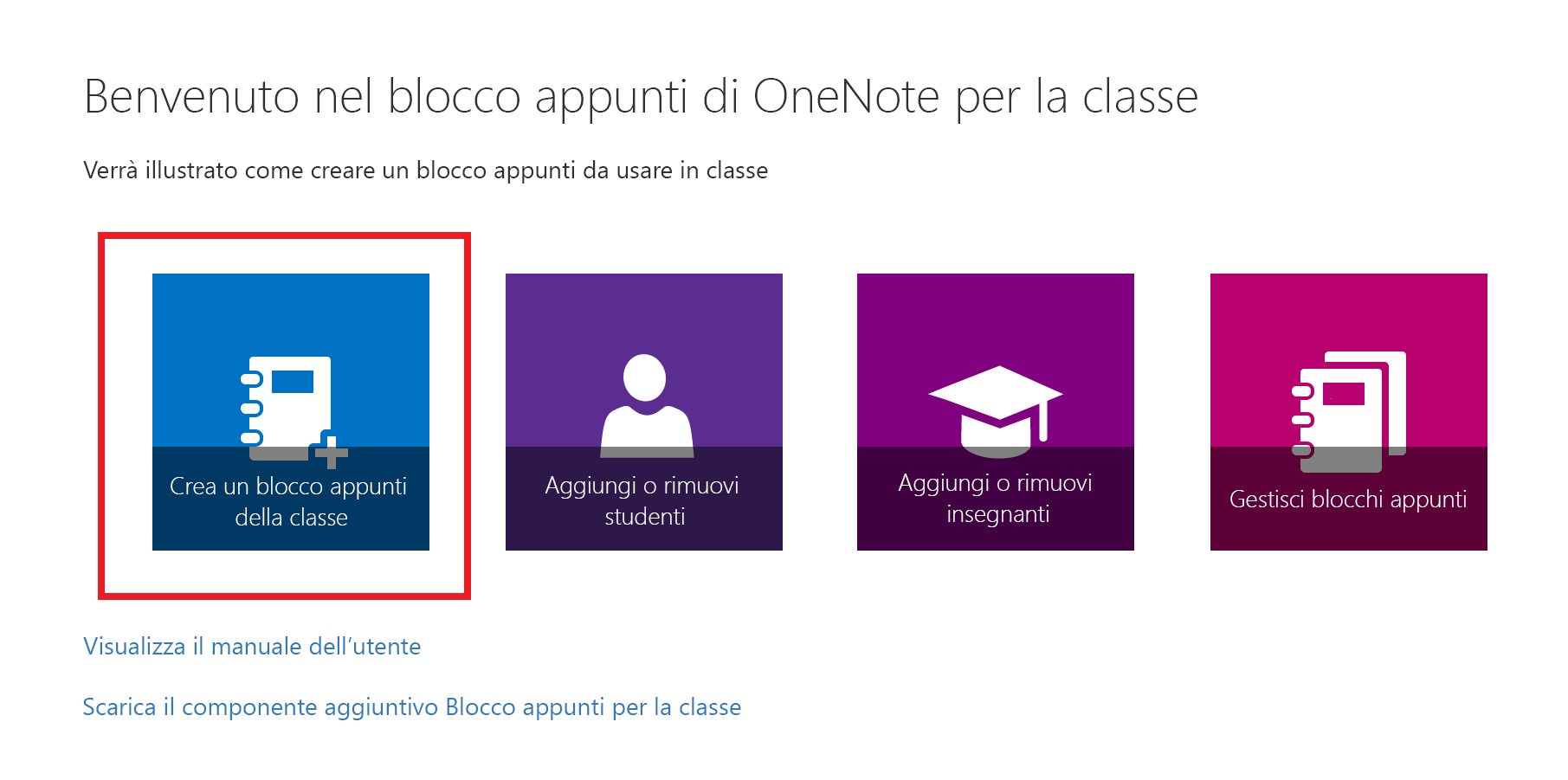 Screenshot della pagina iniziale dell'app Blocco appunti di OneNote per la classe.