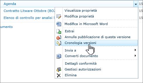 Menu a discesa del documento con l'opzione Cronologia versioni evidenziata