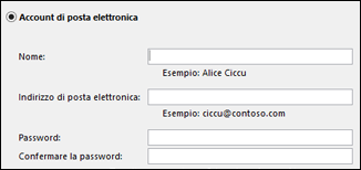Immettere l'indirizzo di posta elettronica e la password per Exchange