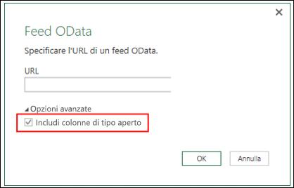 Power Query - Connettore OData migliorato con un'opzione per importare colonne di tipo aperto da feed OData