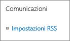 Impostazioni RSS di Comunicazioni per l'elenco