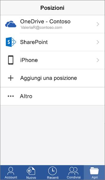Screenshot della schermata Posizioni dell'app Word Mobile.