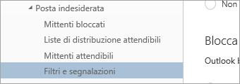 Screenshot di Filtri e segnalazioni nel menu Opzioni