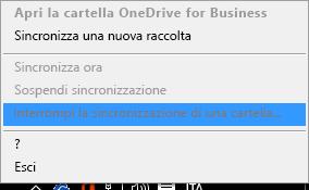 Screenshot del comando Interrompi la sincronizzazione di una cartella visualizzato quando si fa clic con il pulsante destro del mouse sul client di sincronizzazione di OneDrive for Business