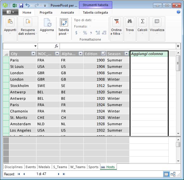 Usare Aggiungi colonna per creare un campo calcolato mediante DAX