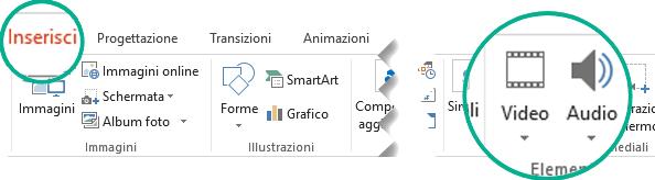 Nella scheda Inserisci della barra multifunzione di PowerPoint selezionare Audio o Video