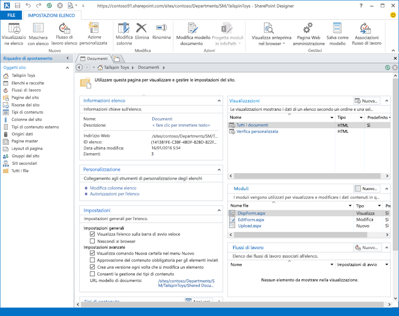 Immagine della pagina iniziale di SharePoint Designer 2013.