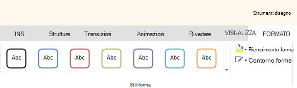 Gli strumenti di forma in Office Online