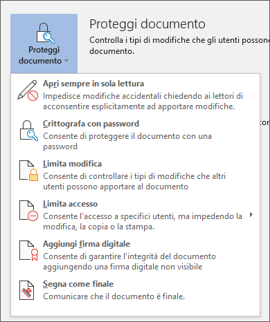 Menu Proteggi documento in Word per Office 365