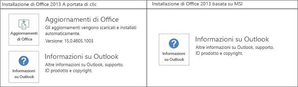 Figura che illustra come stabilire se l'installazione di Office 2013 è a portata di clic o basata su MSI