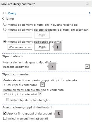 Elenco proprietà web part Query contenuto con tre callout