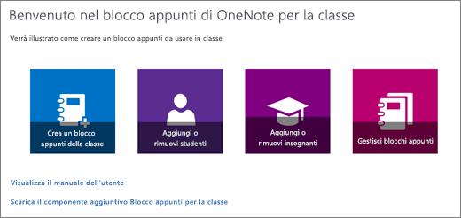 Procedura guidata per i blocchi appunti della classe in OneNote con le icone per creare un blocco appunti della classe, aggiungere o rimuovere studenti, aggiungere o rimuovere docenti e gestire blocchi appunti.