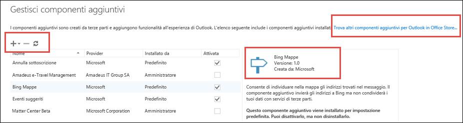 Gestire i componenti aggiuntivi in Outlook.com
