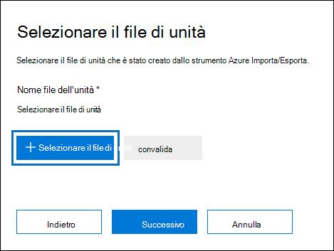 Fare clic su unità selezionare file per inviare il file di registro creato al momento dell'esecuzione dello strumento WAImportExport.exe