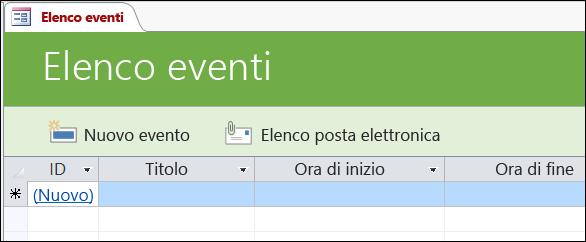 Maschera Elenco eventi nel modello di database Eventi di Access
