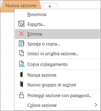 Screenshot del menu di scelta rapida per la rimozione di una sezione