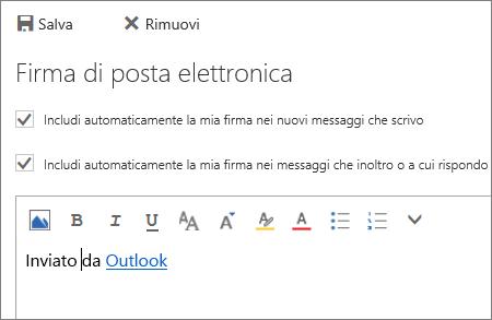 Screenshot della schermata della firma.