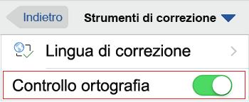 Controllo ortografia