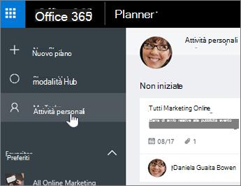 Fare clic su attività personali per visualizzare solo le attività in un piano