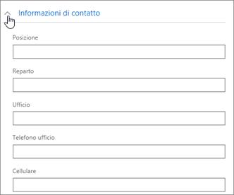 Espandere la sezione Informazioni di contatto per immettere informazioni facoltative come il numero di cellulare e l'indirizzo.