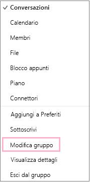 Menu di scelta rapida Gruppo di calendari con l'opzione Modifica gruppo evidenziata. Menu visualizzato quando si sceglie il pulsante Altre azioni nella barra dei menu del singolo gruppo.