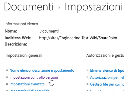 Finestra di dialogo Impostazioni raccolta con Controllo delle versioni selezionato.