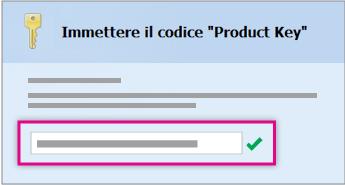 Immettere il codice Product Key