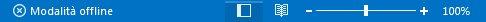 Indicatore della modalità offline sulla barra di stato di Outlook
