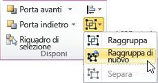 Elenco Raggruppa con l'opzione Raggruppa di nuovo selezionata