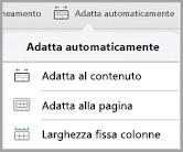 Opzioni di Adatta automaticamente in iPad